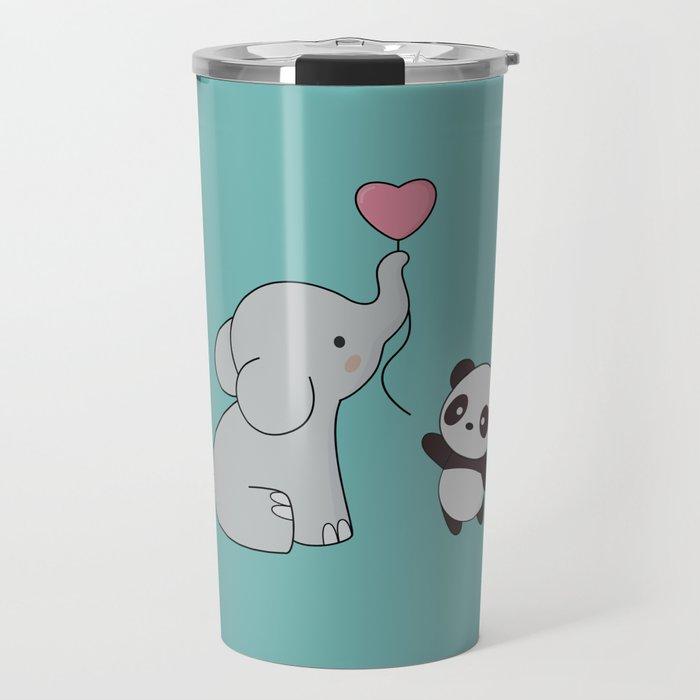 Kawaii Cute Elephant and Panda Travel Mug