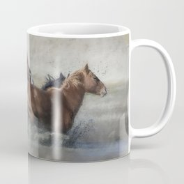 Mustangs Getting Out of a Muddy Waterhole the Fast Way painterly Coffee Mug