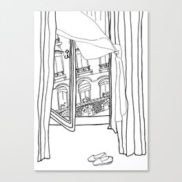 Window View in France  //  ink drawing Canvas Print