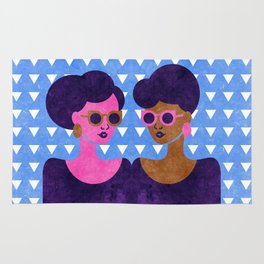 Girls in Purple and Sunglasses Rug