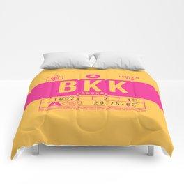Retro Airline Luggage Tag 2.0 - BKK Bangkok Airport Thailand Comforters
