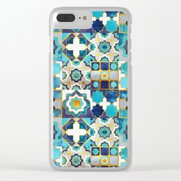 Spanish moroccan tiles inspiration // turquoise blue golden lines Clear iPhone Case