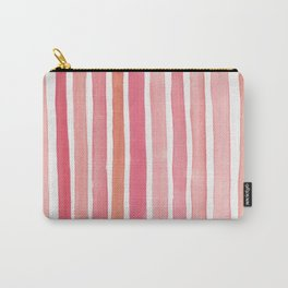 Pretty in Pink Watercolor Stripes Carry-All Pouch
