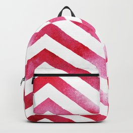Watercolor Chevro, Red Chevron Striped Watercolor, Home And Accessories Backpack