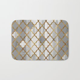 Moroccan Tile Pattern In Grey And Gold Bath Mat