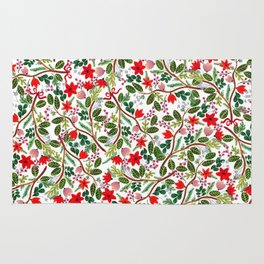 Christmas Floral Pattern Rug