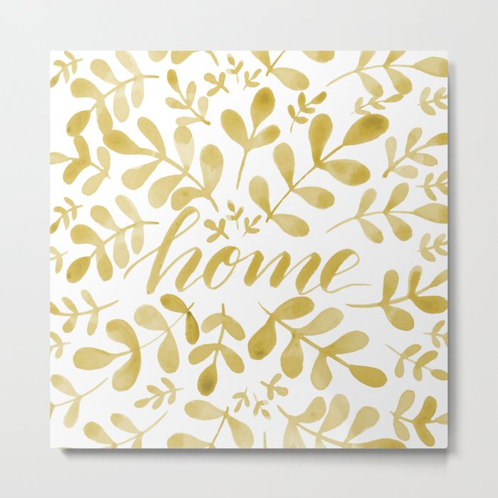 Watercolor home foliage – yellow Metal Print