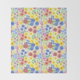 Floral watercolor pattern white Throw Blanket
