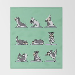 Miniature Schnauzer yoga Throw Blanket