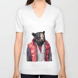 Black Bear Unisex V-Neck