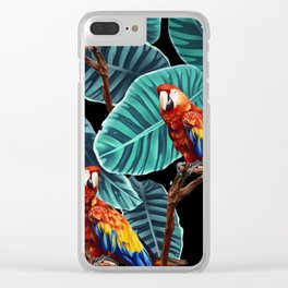 tropical leaves macaw pattern 2 Clear iPhone Case