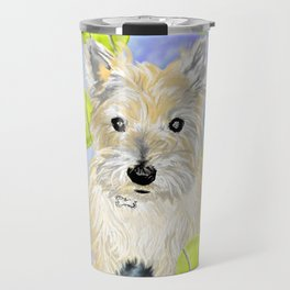 Miss Caroline the Cairn Terrier is Obsessed About Fetching Tennis Balls Travel Mug