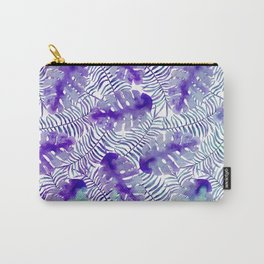 Tropical purple violet teal watercolor monster leaves Carry-All Pouch