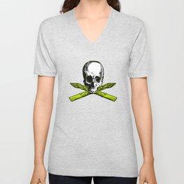 skull asparagus Unisex V-Neck