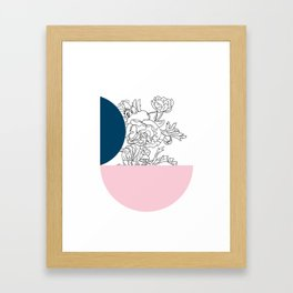 VESSEL - Floral Ink in Peacock & Pink - Cooper and Colleen Framed Art Print