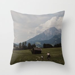 Biking through the Austrian Alps Throw Pillow