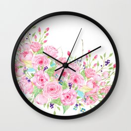 Watercolor Pink Rose Bouquet Wall Clock