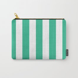 Mountain Meadow green - solid color - white vertical lines pattern Carry-All Pouch