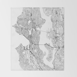 Seattle White Map Throw Blanket