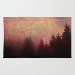 Repose, Abstract Landscape Trees Sky Rug