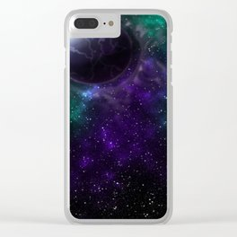 Purple Galactic Thunder Clear iPhone Case