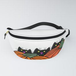 Three Black Cats in the Pumpkin Patch Fanny Pack
