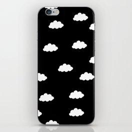 White clouds in black background iPhone Skin