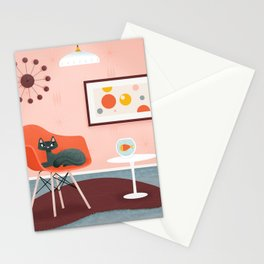 Midcentury Coral Decor With Black Cat And Gold Fish Stationery Cards