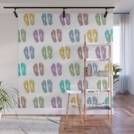 Happy coloured flip flops summer vibes Wall Mural