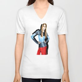 Fashion #16. Long-haired girl in fashionable dress-transformer Unisex V-Neck