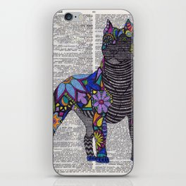 Whimsical Pitbull Dancing on Words iPhone Skin