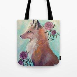 Fox in Flowers Tote Bag
