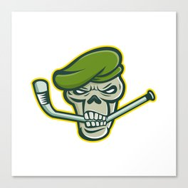 Green Beret Skull Ice Hockey Mascot Canvas Print
