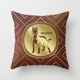 Golden Belgian Malinois - Mechelaar  - Maligator Throw Pillow