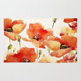 Poppy Flower Meadow- Floral Summer lllustration Rug