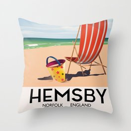 Hemsby Norfolk England vintage train poster. Throw Pillow