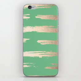 Abstract Paint Stripes Gold Tropical Green iPhone Skin