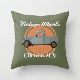 Vintage Wheels - Citroën 2CV Pickup Throw Pillow