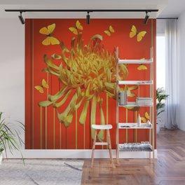 SURREAL YELLOW SPIDER MUM & BUTTERFLIES ORANGE ART Wall Mural