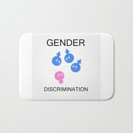 Gender discrimination- male cartoons bullying a female gender Bath Mat