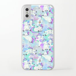 Unicorn Frolicking Clear iPhone Case