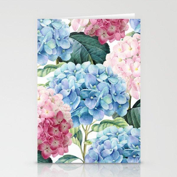Pink Blue Hydrangea Stationery Cards