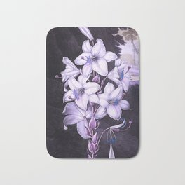 The White Lily w/ Variegated-leaves Lavender Temple of Flora Bath Mat