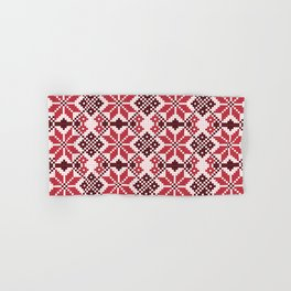 Romanian Traditional Embroidery - Red Hand & Bath Towel