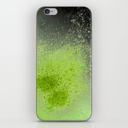Neon Green and Black Spray Paint Splatter iPhone Skin
