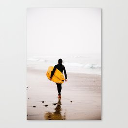 Yellow surf surfer Canvas Print
