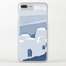 Labyrinth on the Shore, Sketch, Cyanotype Clear iPhone Case