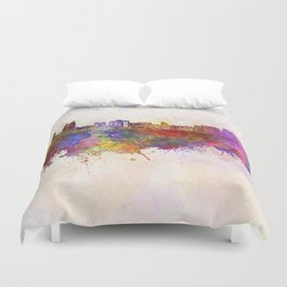 Baku skyline in watercolor background Duvet Cover