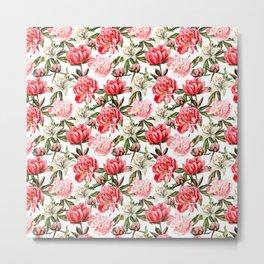 Peonies and Lilies - flower pattern no 1 Metal Print