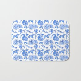 Blue Roses Watercolor Bath Mat